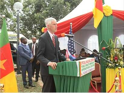 U.S. Ambassador to Cameroon Peter Barlerin speaks at the inauguration of the center, in Yaounde, Cameroon, Dec. 3, 2018. (M. Kindzeka/VOA)