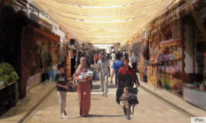 A perspective of how a market in a refugee camp could look, showing strategies to shade the main walkway. (Sama El Saket)