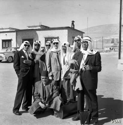 Dizzy Gillespie (first on right) and his orchestra – including Quincy Jones (third from right at back) – in Turkey, 1956. Credit: Malcolm Poindexter III / Courtesy of the Institute of Jazz Studies, Rutgers University