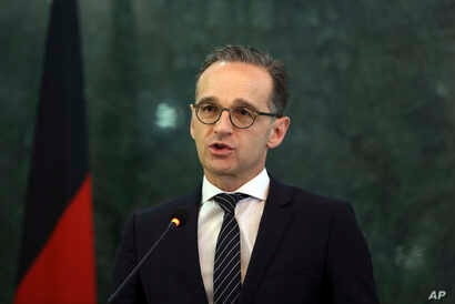 German Foreign Minister Heiko Maas, speaks during a press conference with Afghanistan's Foreign Minister Salahuddin Rabbani, in Kabul, Afghanistan, March 11, 2019.