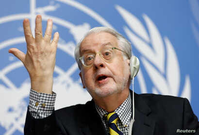 FILE - Paulo Pinheiro, chairperson of the Commission of Inquiry on Syria, attends a news conference at the United Nations office in Geneva, Switzerland, Sept. 6, 2017.