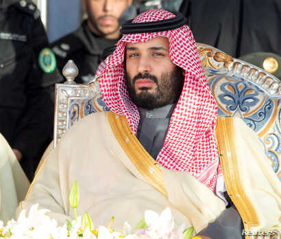 FILE - Saudi Arabia's Crown Prince Mohammed bin Salman attends a graduation ceremony for cadets from the King Faisal Air Academy in Riyadh, Saudi Arabia, Dec. 23, 2018.