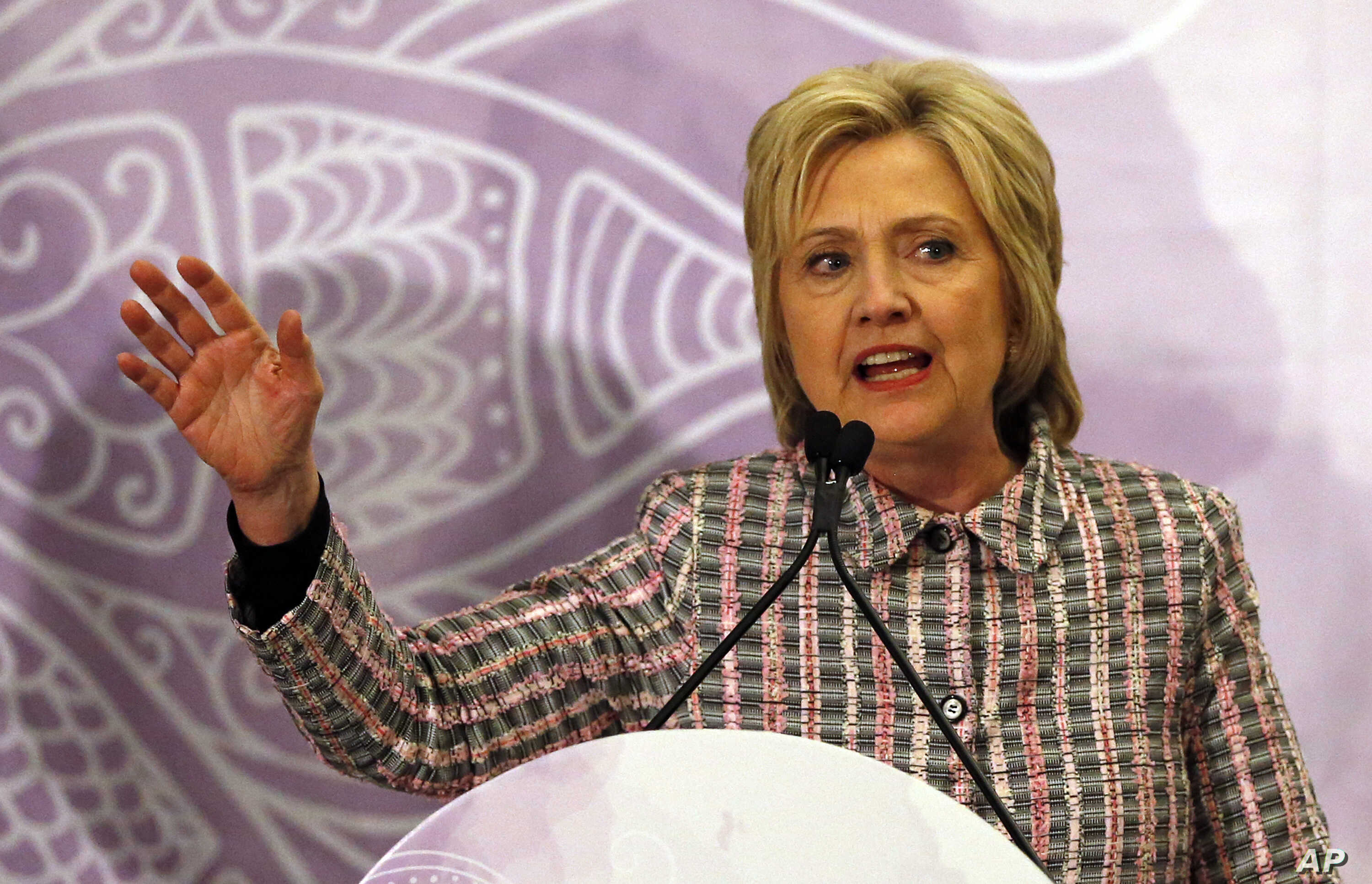 """Democratic presidential candidate Hillary Clinton speaks at the Trayvon Martin Foundation's """"Circle of Mothers"""" Gala at the Embassy Suites Hotel on May  21, 2016 in Fort Lauderdale, Fla."""