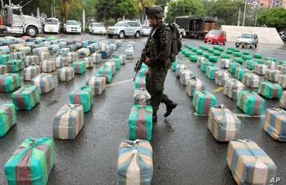 FILE - A police officer guards packages of seized marijuana on display for a media presentation at police headquarters in Cali, Colombia, March 26, 2013. According to police, the 7.7 tons of marijuana were seized  from the rebels of the Revolutionary...