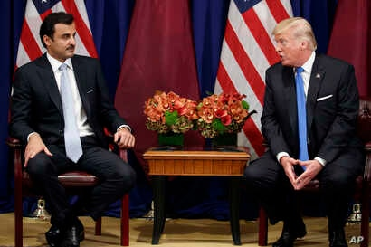 President Donald Trump meets with Qatar's Emir Sheikh Tamim Bin Hamad Al Thani at the Palace Hotel during the United Nations General Assembly, Sept. 19, 2017, in New York.