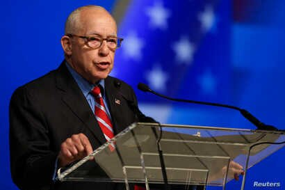 Michael Mukasey, former U.S. Attorney General, delivers a speech during the 2018 Iran Uprising Summit in New York, Sept. 22, 2018.
