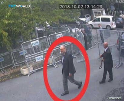 A still image taken from CCTV video and obtained by TRT World claims to show Saudi journalist Jamal Khashoggi, highlighted in a red circle by the source, as he arrives at Saudi Arabia's Consulate in Istanbul, Turkey, Oct. 2, 2018.
