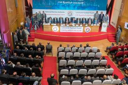 The National Electoral Authority announces that presidential candidate Mosa Mostafa Mosa got %2.92 of the total votes cast during the presidential election, during a press conference in Cairo, Egypt, April 2, 2018. (Photo: H. Elrasam for VOA)