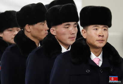 North Korean athletes arrive at the the Olympic Village in Gangneung, South Korea, Feb. 1, 2018.