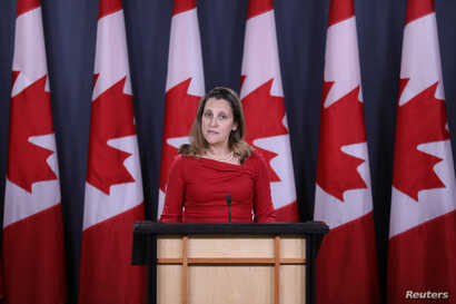 Canada's Foreign Minister Chrystia Freeland speaks during a news conference in Ottawa, Ontario, Canada, December 12, 2018.