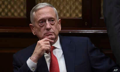 Defense Secretary James Mattis attends a meeting with President Donald Trump and Republican congressional leaders in the Roosevelt Room of the White House in Washington, Nov. 28, 2017.