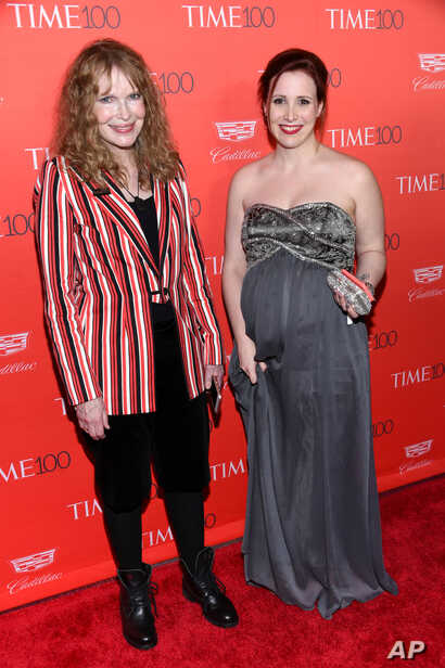 FILE - Actress Mia Farrow and her daughter Dylan Farrow attend an event at Lincoln Center in New York, April 26, 2016.