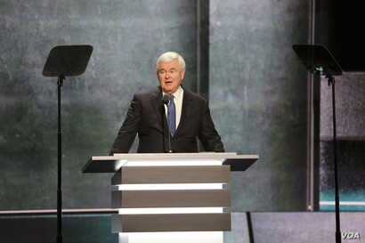 Former House Speaker Newt Gingrich delivers a speech at the Republican National Convention in Cleveland, Ohio on July 20, 2016. (Photo: Ali Shaker / VOA)