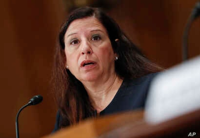FILE - Acting Director of Homeland Security Elaine Duke testifying before the Senate Committee on Homeland Security and Governmental Affairs on Capitol Hill in Washington, Sept. 27, 2017.