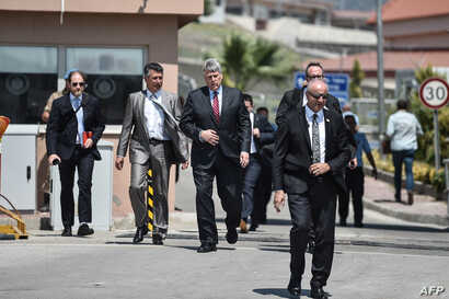 US Charge d'affairs Philip Kosnett (3rd-L) leaves after the trial of US Pastor Andrew Brunson who is datained in Turkey for over a year on Terror charges, in Aliaga, north of Izmir, on July 18, 2018.