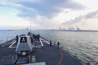 The Arleigh Burke-class guided-missile destroyer USS Kidd arrives off the coast of India in preparation for Malabar 2017, a series of exercises between the Indian Navy, Japan Maritime Self Defense Force and U.S. Navy.