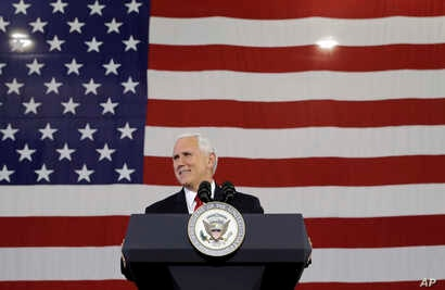 Vice President Mike Pence speaks at the Wylam Center of Flagship East, in Anderson, Indiana, Sept. 22, 2017.