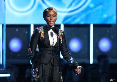 Janelle Monae introduces a performance by Kesha at the 60th annual Grammy Awards at Madison Square Garden on Jan. 28, 2018, in New York.