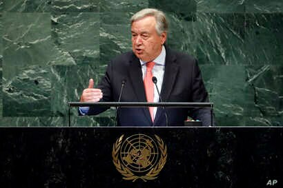 U.N. Secretary General Antonio Guterres addresses the 73rd session of the United Nations General Assembly, at U.N. headquarters, Sept. 25, 2018.