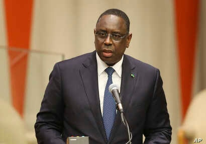 FILE - Macky Sall, the president of Senegal.