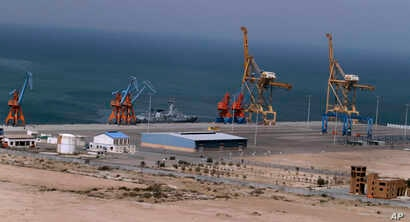 FILE - A Pakistan Navy ship berths at Gwadar port, Pakistan, April 11, 2016. The facility is seen as central to a multi-billion dollar economic cooperation agreement between Pakistan and China.