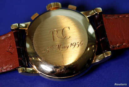 """RC, the initials of the first owner and the date of purchase, May 25, 1956, are seen on """"The Asprey,"""" a Patek Philippe perpetual calendar chronograph watch reference 2499, during a press preview ahead of the upcoming auction at Sotheby's in Geneva, ..."""