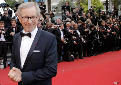 """FILE - Director and president of the jury, Steven Spielberg, arrives for the screening of """"Inside Llewyn Davis"""" at the 66th international film festival, in Cannes, southern France, May 19, 2013."""