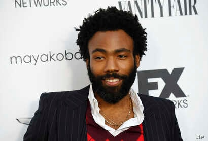 """Donald Glover, creator and star of the FX series """"Atlanta,"""" poses at a private cocktail party to celebrate the FX network's Emmy nominations, Sept. 16, 2018, in Los Angeles."""