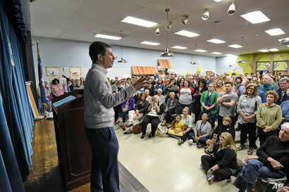 FILE - South Bend Mayor Pete Buttigieg speaks to a crowd about his Presidential run during the Democratic monthly breakfast held at the Circle of Friends Community Center in Greenville, S.C.