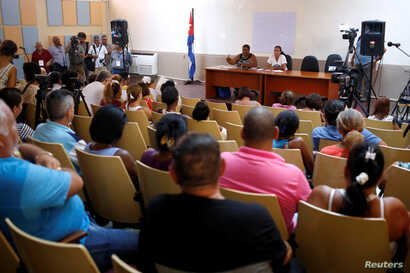 A general view shows the public political discussion to revamp a Cold War-era constitution at the Nguyen Van Troi Polyclinic in Havana, Aug. 13, 2018.