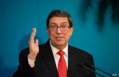 Cuba's Minister of Foreign Affairs Bruno Rodriguez Parrilla talks with reporters in Havana, Cuba, Oct. 24, 2018.