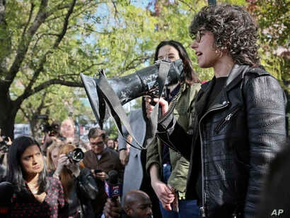 Meredith Whittaker, a research scientist at New York University who leads Google's Open Research Group, addresses hundreds of Google employees during a protest rally on Nov. 1, 2018, in New York.