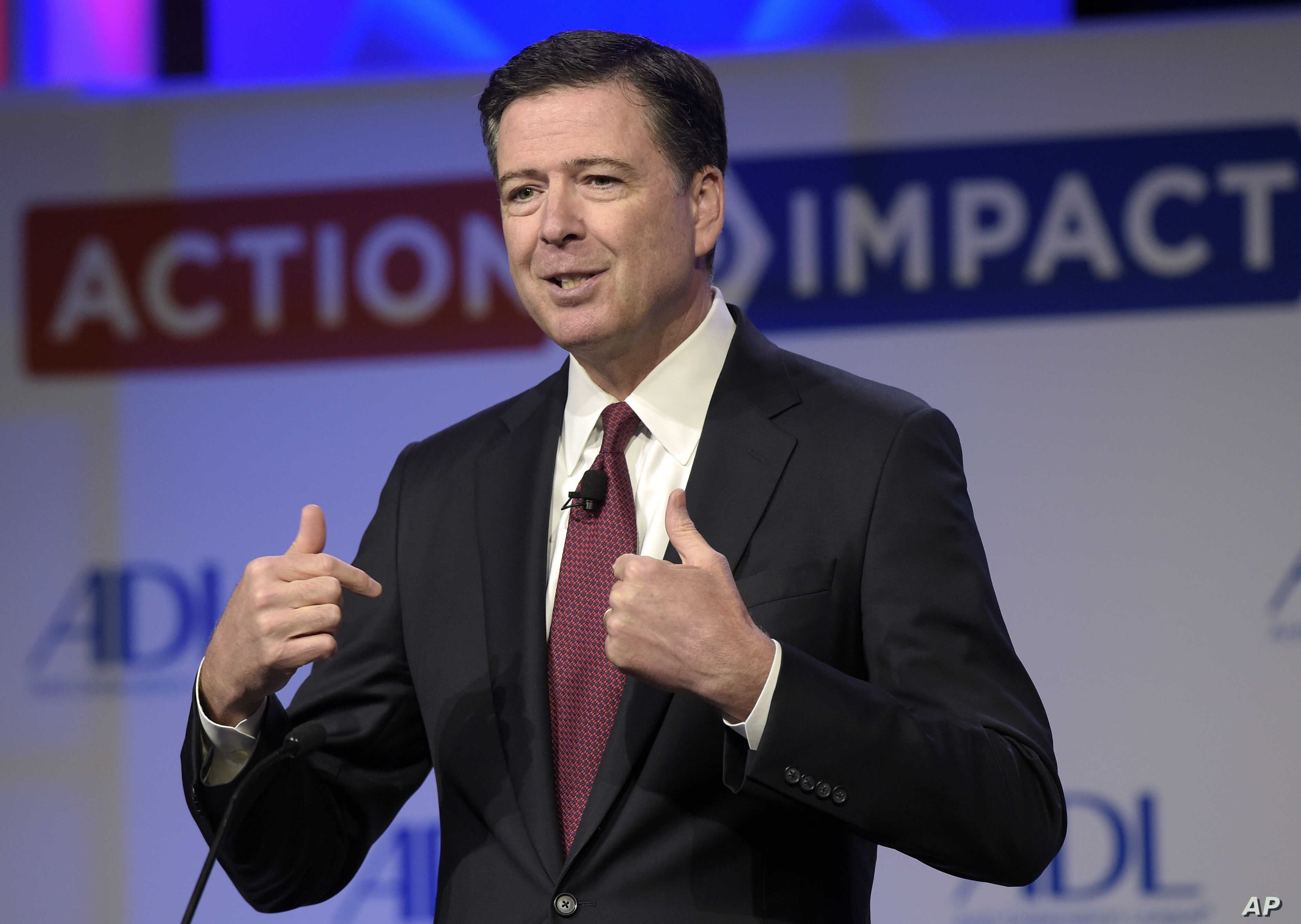 In this May 8, 2017, photo, then-FBI Director James Comey speaks to the Anti-Defamation League National Leadership Summit in Washington.