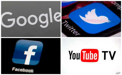 FILE - A photo combo of images shows, clockwise, from upper left: a Google sign, the Twitter app, YouTube TV logo and the Facebook app.