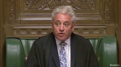Speaker of the House of Commons John Bercow announces the results of a round of voting on alternative Brexit options at the House of Commons in London, Britain, April 1, 2019, in this still image taken from video.