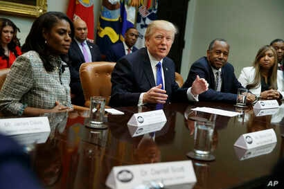 President Donald Trump speaks during a meeting on African American History Month in the Roosevelt Room of the White House in Washington, Feb. 1, 2017.