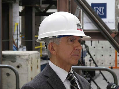 Saiid Saiidi, a world-renowned professor of civil and environmental engineering at the University of Nevada, Reno, Sept. 20, 2017, after conducting a series of tests on a giant shake table intended to simulate violent earthquake activity at the schoo...
