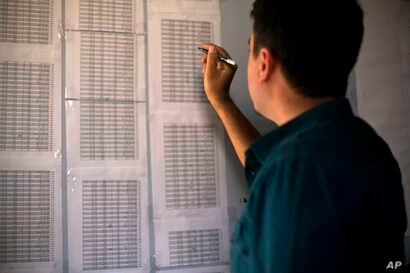 Bahzad Farhan Murad points to a list of missing and killed Yazidis to The Associated Press in the small office where he collects evidence on Islamic State crimes against Yazidis, in Dohuk, Iraq, May 22, 2016. He hopes his detailed files of over 2,400...