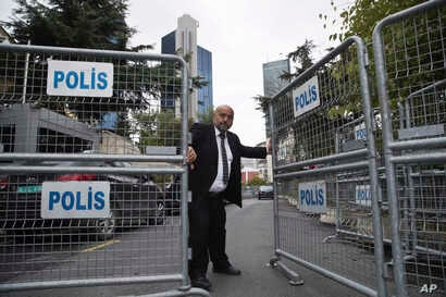 A guard secures the entrance of the Saudi Arabia's Consulate in Istanbul, Oct. 17, 2018.