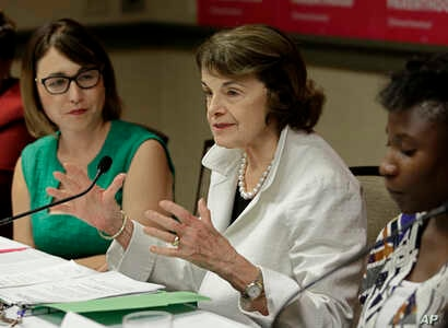 FILE - U.S. Sen. Dianne Feinstein, D-Calif., speaks at a gathering for Planned Parenthood in Sacramento, Calif., May 31, 2018.