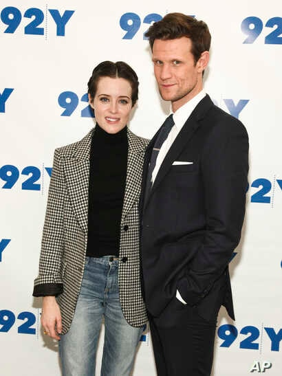 """Actors Claire Foy, left, and Matt Smith attend a screening and discussion of season two of Netflix's, """"The Crown"""", at 92Y in New York, Dec. 4, 2017."""