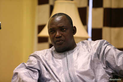 Gambian President-elect Adama Barrow is shown during an interview in Banjul, Gambia, Dec. 12, 2016.