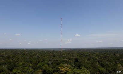 The Amazon Tall Tower Observatory stands in Sebastiao do Uatuma located in the Amazon rain forest in Brazil's Amazonas state, , Aug. 22, 2015. The tower, built  by Brazilian and German governments, collects data on greenhouse gases.
