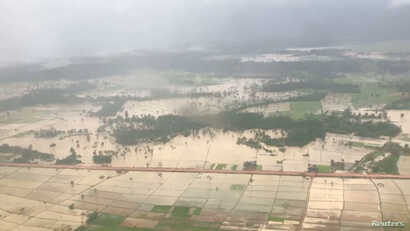 Aerial view shows the flooded area after a dam collapsed in Attapeu province, Laos July 25, 2018 in this still image obtained from a social media video.