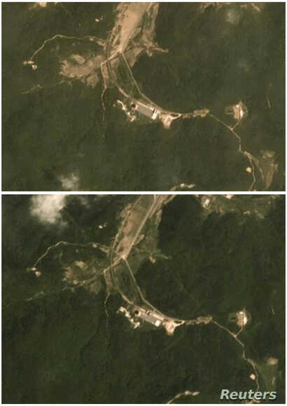 FILE - A combination of two satellite images taken on June 22, 2018 (top) and July 22, 2018 show activity at the Sohae rocket launch site in North Korea. (Planet Labs Inc)