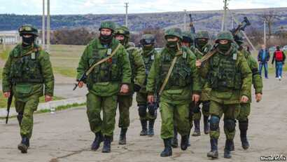 Russian military forces during Moscow's annexation of the Crimean Peninsula in 2014.