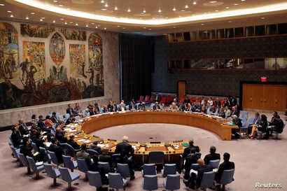 The United Nations Security Council holds a high level meeting on Syria at the United Nations in Manhattan, New York, U.S., Sept. 25, 2016.