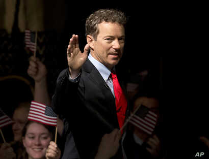 Sen. Rand Paul, R-Ky. arrives to announce the start of his presidential campaign, April 7, 2015, at the Galt House Hotel in Louisville, Ky.