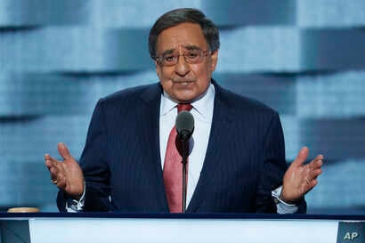 Former Defense Secretary Leon Panetta, speaks during the third day of the Democratic National Convention in Philadelphia, July 27, 2016.