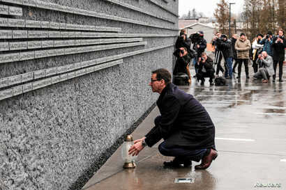 Poland's Prime Minister Mateusz Morawiecki visits the Ulma Family Museum of Poles Who Saved Jews during WWII in Markowa, Poland, Feb. 2, 2018.